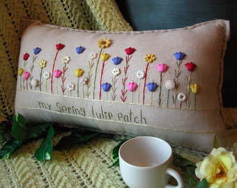 My Spring Tulip Patch Pillow (Cottage Style)