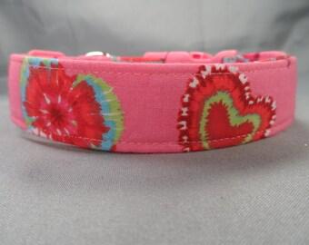 Tie Dye Hearts on Pink Dog Collar