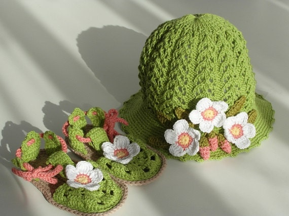 Toddler Hat and Sandals Set, Toddler Flower Hat, Toddler Girl Shoes, Toddler Girl Clothes