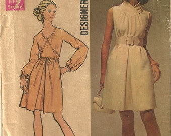 Simplicity 8648 Vintage Grecian Style Dress Sewing Pattern Designer Fashion Retro Mod Hip 1960s Misses Size 10 Bust 32 1/2