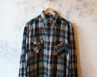 Western Blues Plaid Vintage Shirt- M/ L