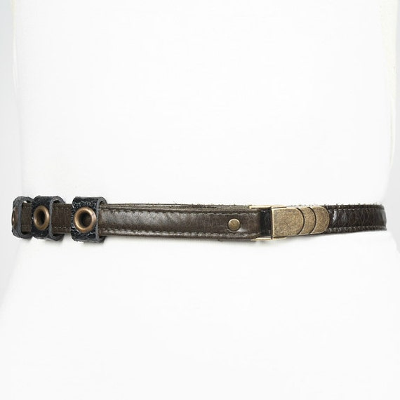 SALE - MIKE - thin leather belt, tie at the waist - kaki