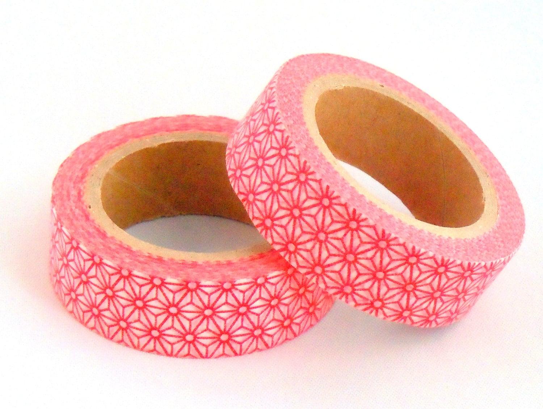 Red washi tape with star pattern geometric asanoha masking for Geometric washi tape designs