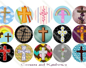 Crosses and Rainbows 1 Inch Circles Collage Sheet for Bottle Caps, Hair Bows, Scrapbooks, Crafts, Jewelry & More