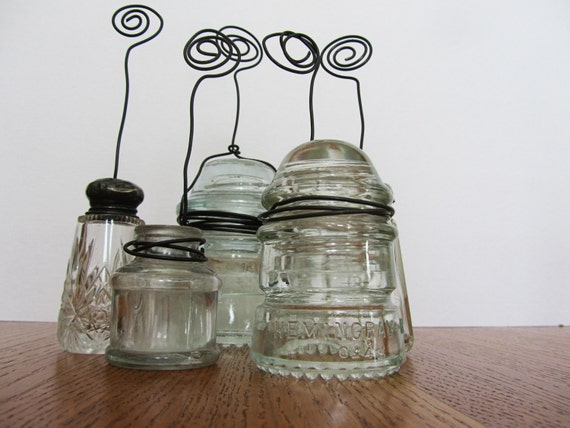 Picture And Card Stand From Vintage Repurposed Glass Insulator