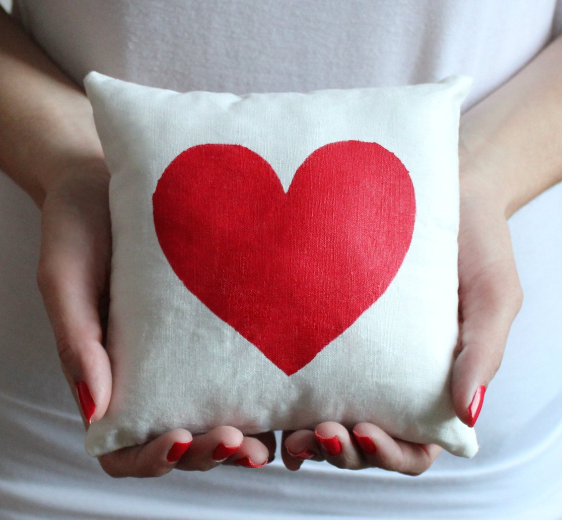 Red Valentine Heart Pillow FREE SHIPPING by PAINTisLOVE on Etsy