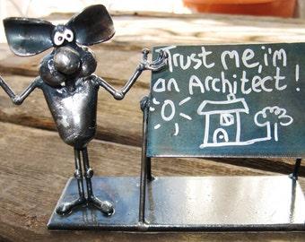 """Architect Mouse Metal Sculpture """"Trust me i'm an Architect"""""""
