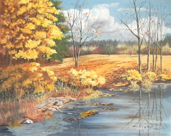 Sale****Original Oil Painting, Landscape in the Fall, 24x30