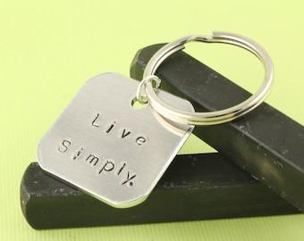 Live Simply Keychain - Minimalist Keychain - Silver Key Chain - Minimal Keychain - Silver Keyring - Gift Under 20 - Yoga Gift - Meditation
