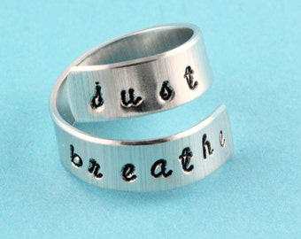 Just Breathe Ring - Twist Ring - Wrap Ring - Silver Ring - Meditation Ring - Meditate Ring - Yoga Ring - Motivational Ring - Inspirational