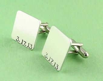SALE - Special Date Cufflinks - Custom Hand Stamped Square Cuff Links