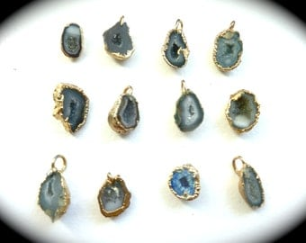 Vintage Geode (Druzy) Pendants Coated in 14 Carat Gold