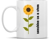 Gardener's Coffee Mug - Sunshine on a Stem: 11-oz. Porcelain Mug - Gardener Gift with Sunflower