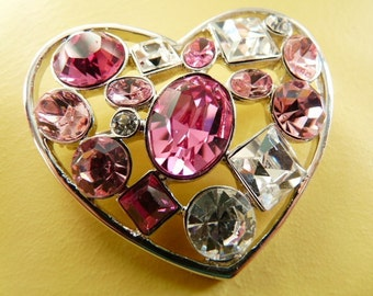 Vintage, costume, rhodium plated, silver tone, Valentines heart brooch with cubic zircona in pink and white.