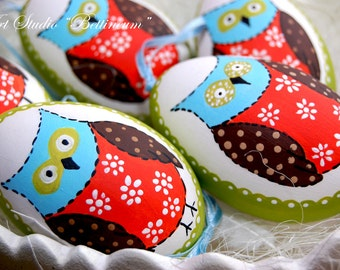 Pysanka egg with  Owl Patchwork  , Polish easter eggs,hand made goose egg
