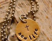 "New Life medium size brass pendant. It comes with a chain, metal ball & is 3/4"" in diameter. - HammeredLoveJewelry"