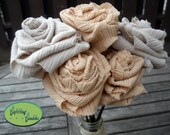 Shabby Chic Peach and Taupe Fabric Roses