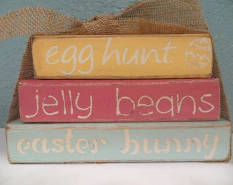 Vintage Easter Happy Easter Wood Block Stacker in Spring Colors with Burlap Ribbon - Easter Colors