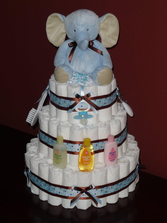 Blue and brown elephant diaper cake shower centerpiece