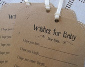 Set of 25 Baby Shower Wishing Tree Tags - Wishes for Baby Neutral Kraft Paper Vintage Rustic