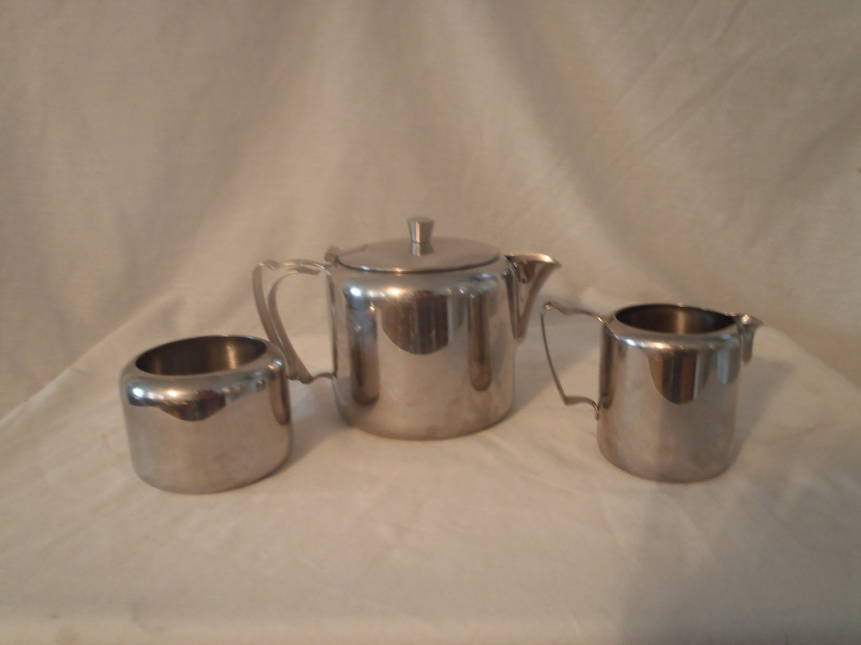 vintage stainless steel tea set teapot creamer sugar bowl - 🔎zoom