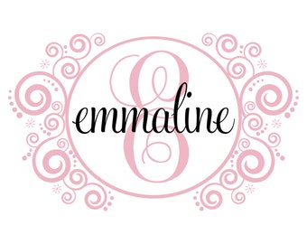 Initial And Name Decal Personalized With Shabby Chic Scroll Monogram For Baby Girl Nursery Toddler Teen Room Wall Art 22H x 36W GN026