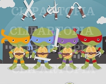 Teenage Turtle Digital Clipart For Personal and Commercial Use/INSTANT DOWNLOAD