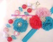 Pink, turquoise and white shabby flower headband and necklace set
