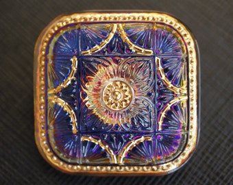 Hand Made Art Czech Glass Button Square, Crystal Blue/Purple Volcano size 18, 32x32mm 1pc (BO3720/18)