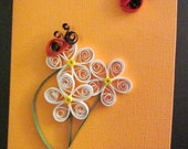 Quilled White Flowers with Ladybugs Greeting Card