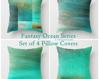 "Set of 4 Throw Pillow Covers - Fantasy Ocean Series - 16""x16"" inch - Photography - 100% Spun Polyester - Abstract - Blue - Turquoise - Green"