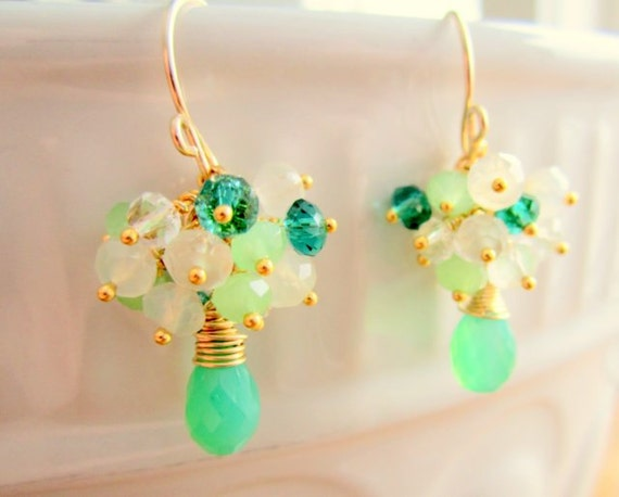 Green Cluster Earrings in Gold Filled Wire - Bridal/Wedding Jewelry Emerald Gems Dangles