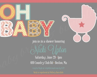 OH BABY, baby girl shower invite, 5x7: Printable and customizable (front design only)