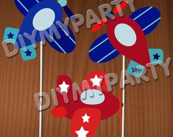 DIY Birthday Party decor Cupcake Toppers Printable PDF File Birthday decoration scrapbooking planes clipart planes clip art favor tag (492)