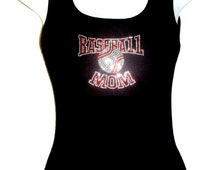 New Sport Rhinestone crystal BaseBall MoM Tank tops Shirt Blacks Size:S, To 3XL plus size  Free Shipping Bling Available in White