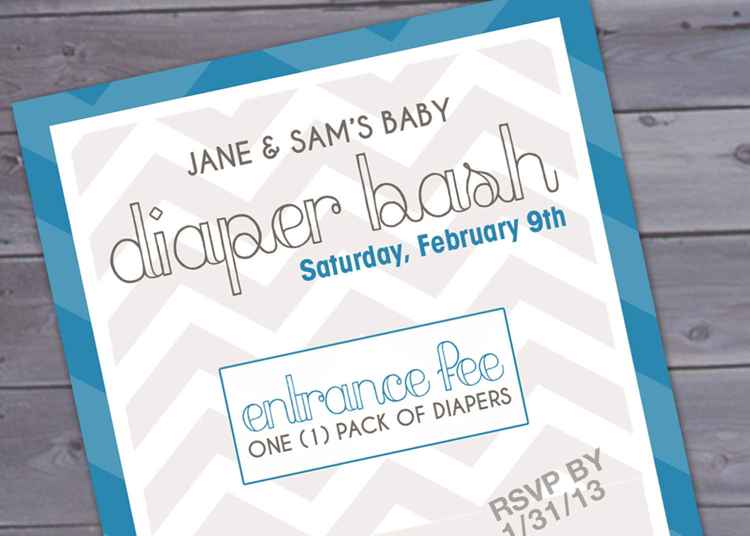 Diaper Bash Chevron Baby Shower Invitation Printable