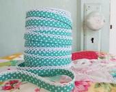 Seafoam Green Polka Dot Crochet Edge Bias Tape (No. 7)