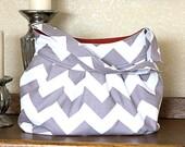 Pleated Purse in Gray Chevron Stripe, Purse, Diaper Bag or Camera Bag