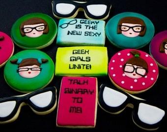 One dozen custom geeky girl cookies