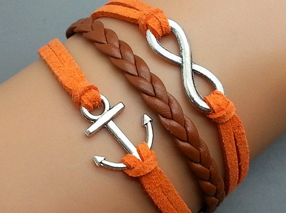 Infinity Bracelet Anchor Bracelet Combination Bracelet Antique Silver Orange Leather Rope Brown Braided Leather  Cute Personalized Jewelry