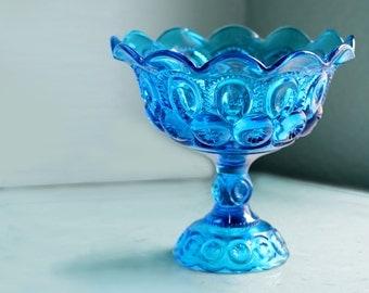 Compote Pedestal in Aqua Blue / Candy Dish Bowl Glass Pedestal / Candy Dish Stand Wedding Dessert Buffet Bar Candy Bar / Wedding Centerpiece