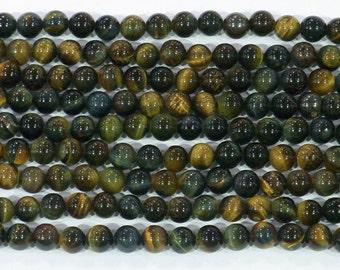 10mm Round Blue Tiger Eye Beads Genuine Natural 6156 15''L Semiprecious Gemstone Bead Wholesale Beads Supply