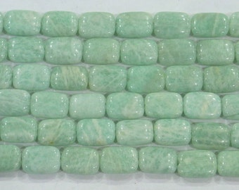 10x14mm Rectangle Amazonite Green Semi Precious Gemstone - 6238