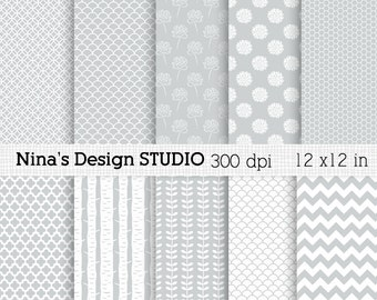 50% SALE INSTANT DOWNLOAD/ 10 Gray Digital paper pack  for Personal and Commercial use/ Scrapbooking