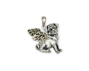 Sterling Silver Pug Angel Dog Pendant Jewelry  PG20-AP