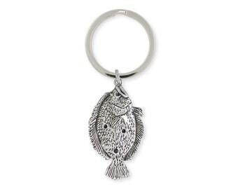 Flounder Key Ring Sterling Sivler Jewelry FE2-KR
