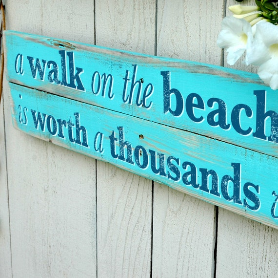 Beach Home Decor Sign With Starfish Wall Art By Jetmakdesigns