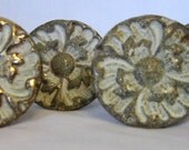 Sale...Vintage Furniture Hardware, Vintage Brass and White Hardware, Drawer Pulls, Shabby Hardware From Made of Flaws