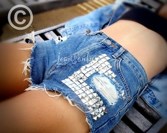Levis high waist studded shorts, high waisted cut off jean shorts by Jeansonly