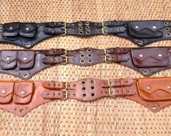 Leather Utility Belt Bag / Fanny Pack - The Jedi - Steampunk Festival Belt / Burning Man / Phone Wallet